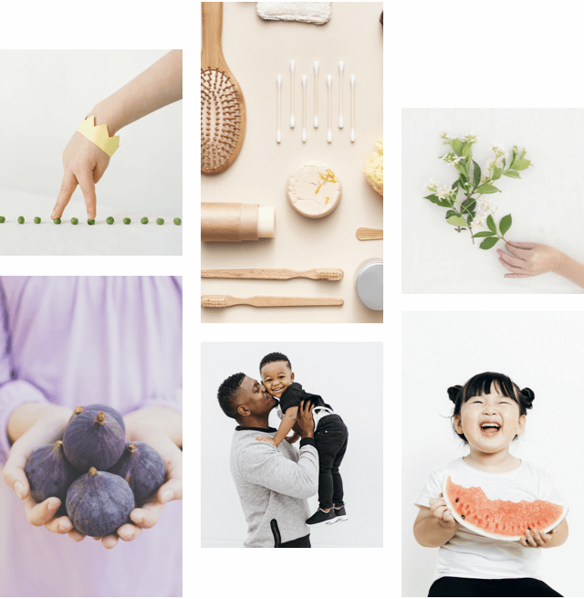 Child playing with his fingers. Baby utensils. Hand holding a branch. Woman holding fruits in both hands. Man holding and kissing child in his lap. Child eating watermelon and laughing.